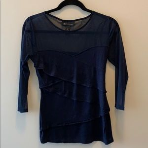 Blue blouse with mesh sleeves